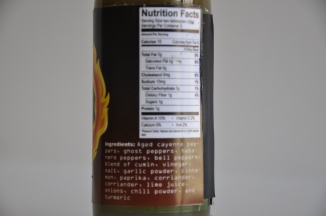 Ingredients and Nutritons Label